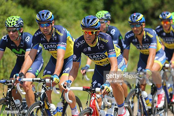 Alberto Contador of Spain and Saxo-Tinkoff rides with his team mates during stage one of the 2013 Tour de France, a 213KM road stage from...