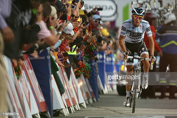 Alberto Contador of Spain and Team Saxo Bank Sungard finishes in third place but remains 03'55'' behind the race leader during Stage 19 of the 2011...