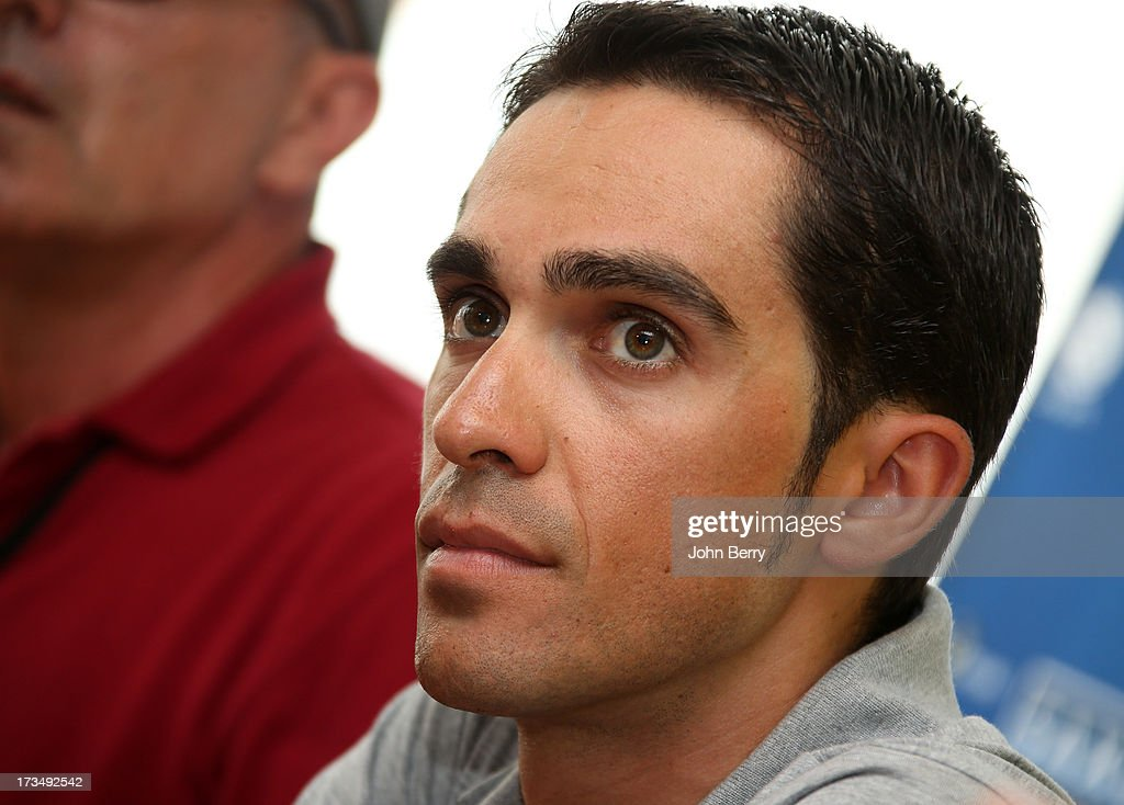Alberto Contador of Spain and Team Saxo-Tinkoff answers questions from journalists during the second rest day of the 2013 Tour de France on July 15, 2013 in Avignon, Vaucluse, France.