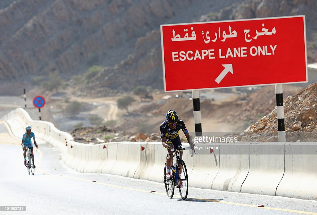 Alberto Contador of Spain and Team Saxo-Tinkoff climbs Green Mountain on stage four of the 2013 Tour of Oman from Al Saltiyah in Samail to Jabal Al Akhdhar (Green Mountain) on February 14, 2013 in Jabal Al Akhdhar, Oman.