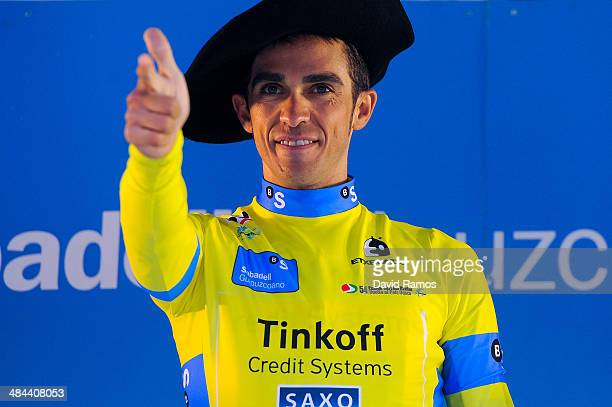 Alberto Contador of Spain and Team TinkoffSaxo celebrates on the final podium after overall victory in the Vuelta al Pais Vasco on April 12 2014 in...