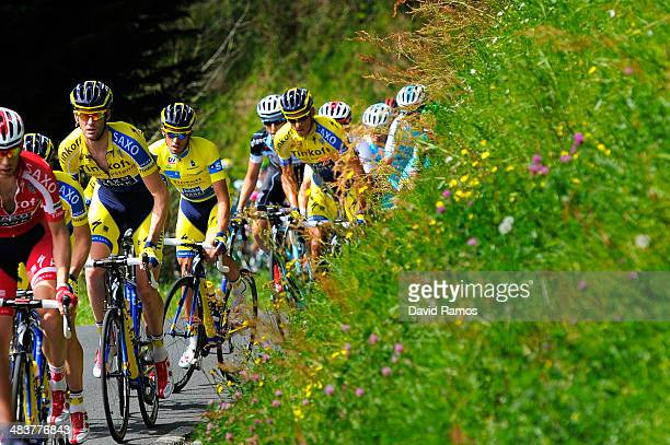 Alberto Contador of Spain and Team TinkoffSaxo heads up Alto de Ixua during Stage Four of Vuelta al Pais Vasco from VitoriaGasteiz to Eibar on April...