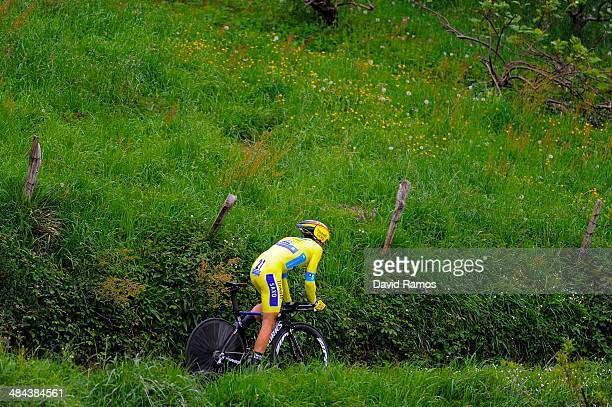 Alberto Contador of Spain and Team TinkoffSaxo in action to be second during Stage Six of Vuelta al Pais Vasco on April 12 2014 in Markina Spain