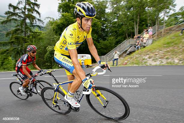 Alberto Contador of Spain and Team TinkoffSaxo wearing the yellow leaders jersey in action during the eighth stage of the Criterium du Dauphine on...