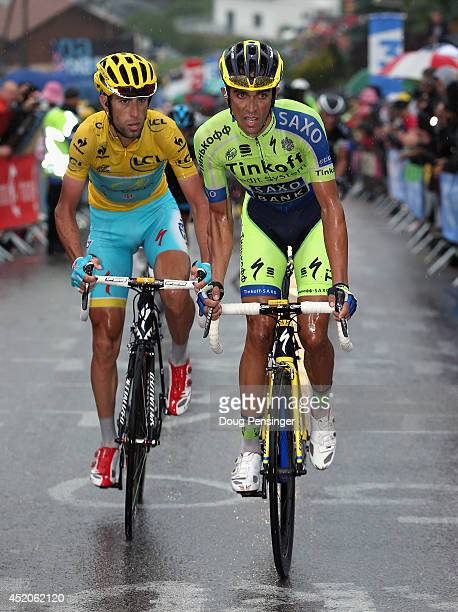 Alberto Contador of Spain and TinkoffSaxo attacks Vincenzo Nibali of Italy and the Astana Pro Team in the overall race leader's yellow jersey on the...