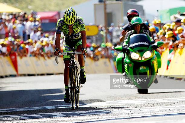 Alberto Contador of Spain and Tinkoff-Saxo crosses the finish line during stage ten of the 2015 Tour de France, a 167 km stage between Tarbes and La...
