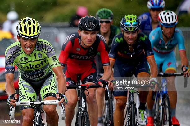 Alberto Contador of Spain and TinkoffSaxo Tejay van Garderen of the United States and BMC Racing Team Alejandro Valverde Belmonte of Spain and...