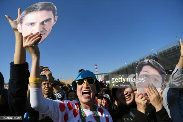 Alberto Contador of Spain Ex Procyclist and Fumiyuki Beppu of Japan and Tour De France Japan Team / Polka Dot Mountain Jersey / Fans / Public /...