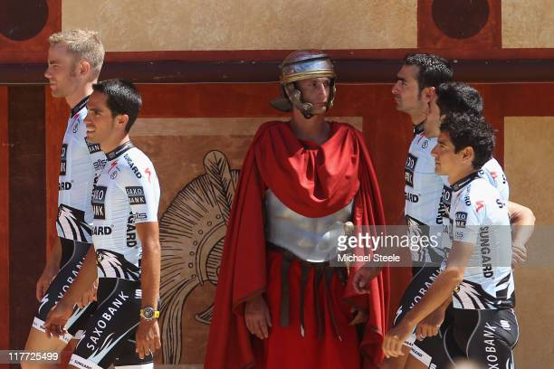 Alberto Contador of Spain leads his Saxobank Sungard team during the official team presentations at Puy du Fou on June 30 2011 in Les Herbiers France