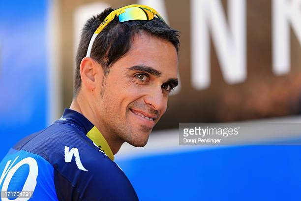 Alberto Contador of Spain riding for Team SaxoTinkoff looks on before taking a training ride on the eve of the 2013 Tour de France on June 28 2013 in...