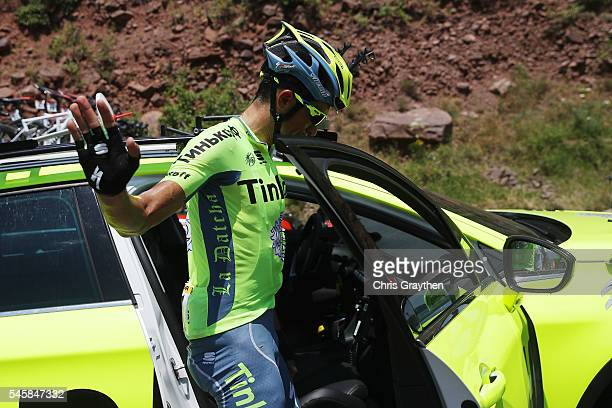 Alberto Contador of Spain riding for Tinkoff during stage nine of the 2016 Le Tour de France, a 184.5km stage from Vielha Val d'Aran to Andorre...