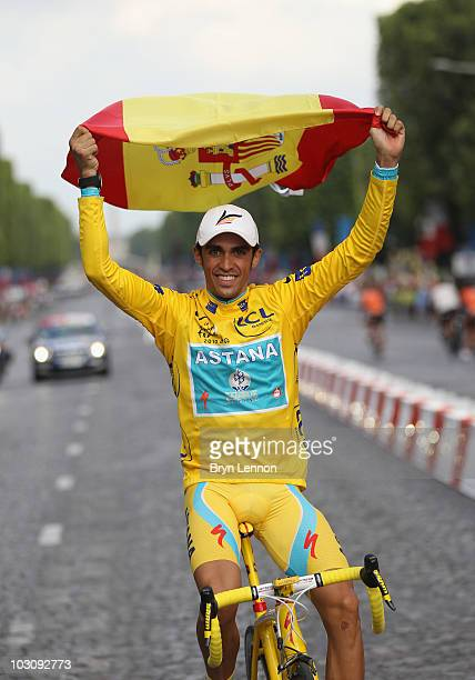 Alberto Contador of team Astana celebrates victory after the twentieth and final stage of Le Tour de France 2010, from Longjumeau to the...
