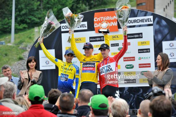 Alberto Contador of Team Tinkoff-Saxo and Spain takes 2nd place, Jurgen Van Den Broeck of Team Lotto-Belisol and Belgium takes 3rd place during Stage...