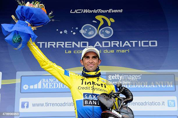 Alberto Contador of Tinkoff Saxo celebrates the victory after stage four of the 2014 Tirreno Adriatico a 244 km stage from Arezzo to Cittareale on...