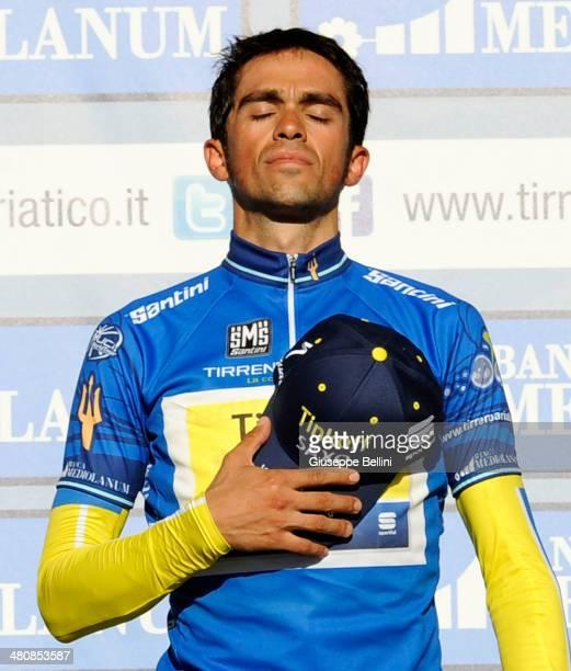 Alberto Contador of Tinkoff Saxo celebrates the victory of the 49 Tirreno Adriatico after stage seven of the 2014 Tirreno Adriatico a 91 km...