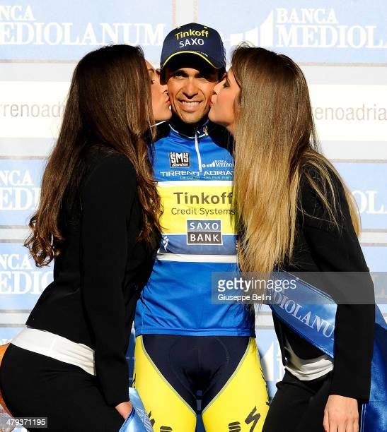 Alberto Contador of Tinkoff Saxo celebrates victory in the 49th Tirreno Adriatico after stage seven a 91 km individual time trial stage on March 18...