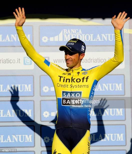 Alberto Contador of Tinkoff Saxo celebrates winning the 49th Tirreno Adriatico after stage seven of the 2014 Tirreno Adriatico a 91 km individual...