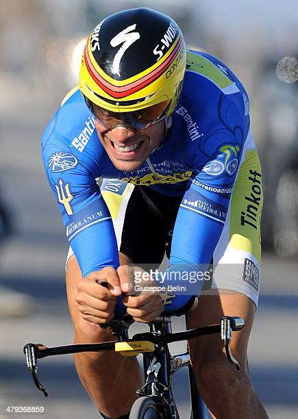 Alberto Contador of Tinkoff Saxo in action during stage seven of the 2014 Tirreno Adriatico a 91 km individual time trial stage on March 18 2014 in...