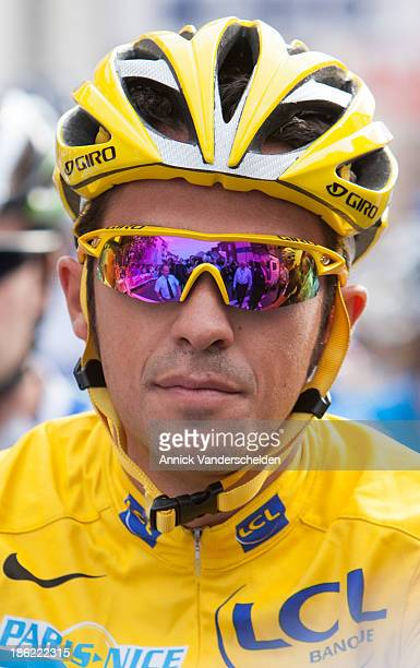 Alberto Contador Velasco in his Yellow Jersey as the winner of Le Tour 2009. Captured at the start of International Criterium Bavikhove which he won.