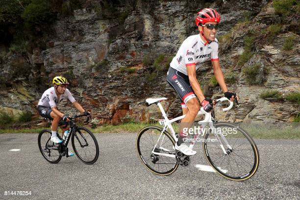 Alberto Contador Velasco of Spain riding for Trek Segafredo and Mikel Landa of Spain riding for Team Sky ride during stage 13 of the 2017 Le Tour de...