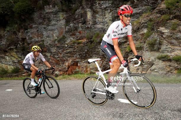 Alberto Contador Velasco of Spain riding for Trek Segafredo and Mikel Landa of Spain riding for Team Sky ride during stage 13 of the 2017 Le Tour de...