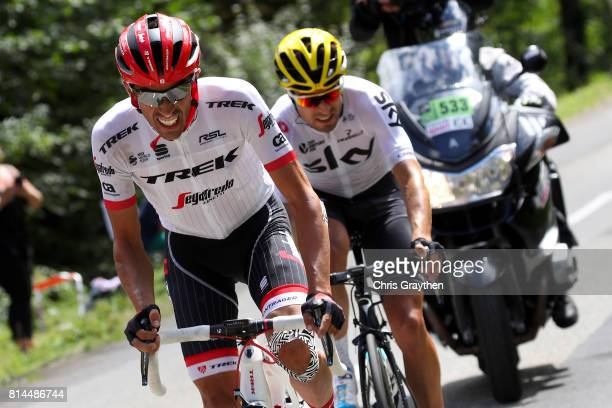 Alberto Contador Velasco of Spain riding for Trek Segafredo and Mikel Landa of Spain riding for Team Sky ride in a breakaway during stage 13 of the...