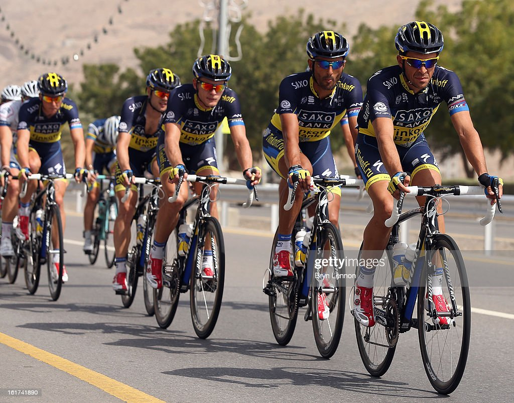 Alberto Contadorof Spain leads his Saxo-Tinkoff team on stage five of the Tour of Oman from Al Alam Palace to the Ministry of Housing in Boshar on February 15, 2013 in Boshar, Oman.