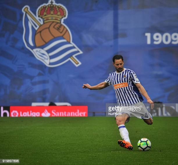 Alberto de la Bella during the Spanish league football match between Real Sociedad and Levante at the Anoeta Stadium on 18 February 2018 in San...