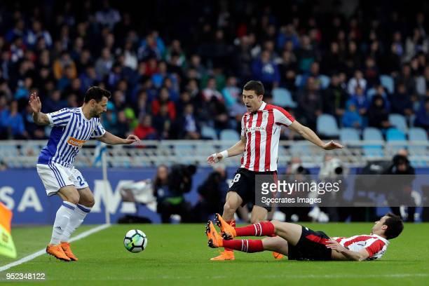 Alberto de la Bella of Real Sociedad Ander Iturraspe of Athletic Bilbao during the La Liga Santander match between Real Sociedad v Athletic de Bilbao...
