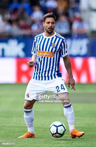 Alberto de la Bella of Real Sociedad controls the ball during the La Liga match between SD Eibar and Real Sociedad de Futbol at Estadio Municipal de...