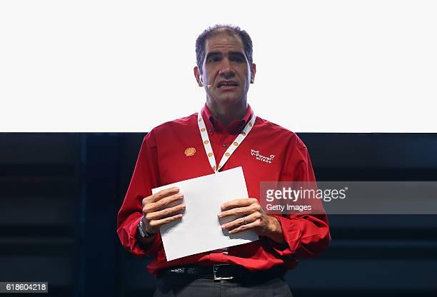 Alberto de la Fuente Shell Mexico talks on stage at the Shell Eco Marathon event during the Formula One Grand Prix of Mexico at Autodromo Hermanos...