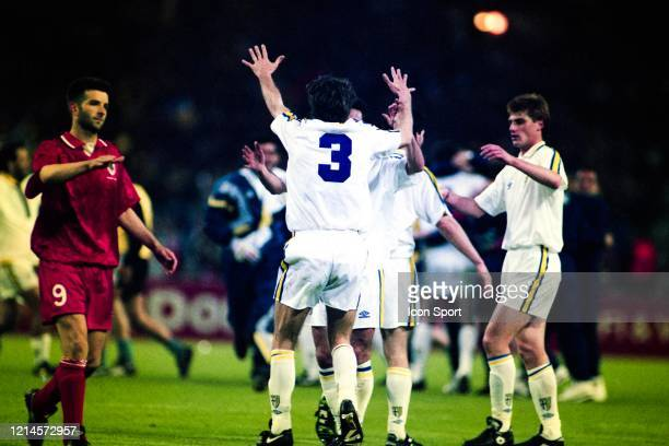 Alberto DI CHIARA of Parma celebrate the victory during the European Cup Winners Cup Final match between Parma and Royal Antwerp at Wembley Stadium...