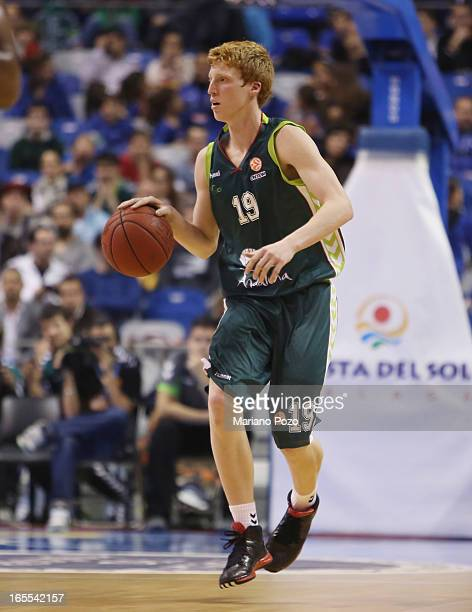 Alberto Diaz #19 of Unicaja Malaga in action during the 20122013 Turkish Airlines Euroleague Top 16 Date 14 between Unicaja Malaga v Alba Berlin at...