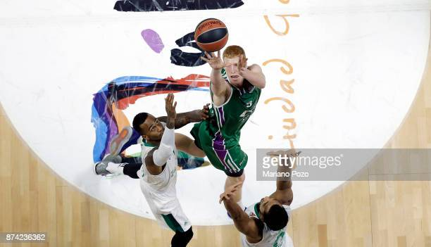 Alberto Diaz #9 of Unicaja Malaga in action during the 2017/2018 Turkish Airlines EuroLeague Regular Season Round 7 game between Unicaja Malaga and...