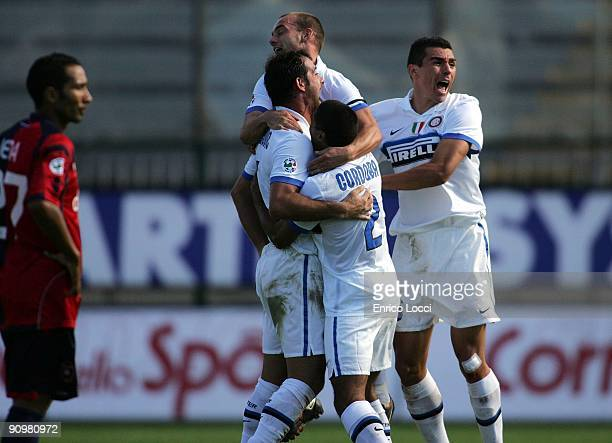 Alberto Diego Milito of Inter Milan is congratualted after scoring against during the Serie A match between Cagliari and Inter Milan at Stadio...