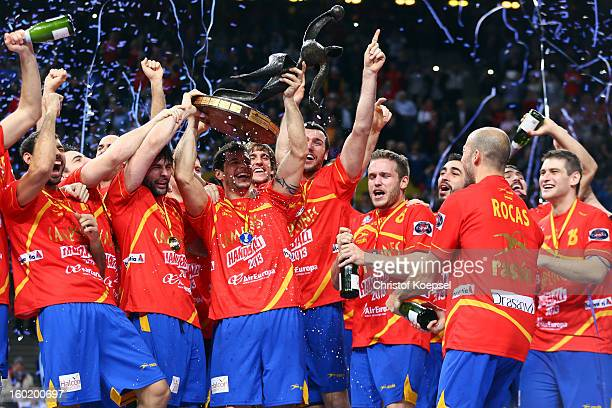 Alberto Entrerrios of Spain lifts the cup on the podium after winning the Men's Handball World Championship 2013 final match between Spain and...
