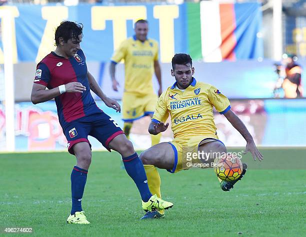 Alberto Facundo Tino Costa of Genoa and Mirko Gori of Frosinone in action during the Serie A match between Frosinone Calcio and Genoa CFC at Stadio...
