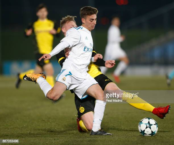 Alberto Fernandez of Real Madrid duels for the ball during the UEFA Youth Champions League group H match between Real Madrid and Borussia Dortmund at...