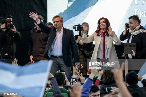 Alberto Fernandez presidential candidate for the Citizen's Unity Party center left and Cristina Fernandez de Kirchner former president of Argentina...
