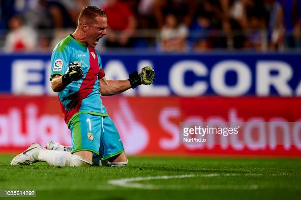 Alberto Garcia celebrates victory after the match between SD Huesca against Rayo Vallecano at Alcoraz Stadium in Huesca Spain on September 14 2018