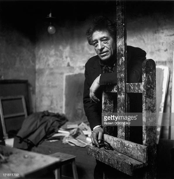 Alberto Giacometti Painter And Sculptor In His Studio Of Rue Hippolyte Maindron Paris