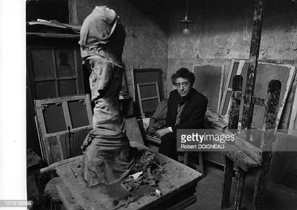 Alberto Giacometti Sculptor And Painter In His Paris Studio