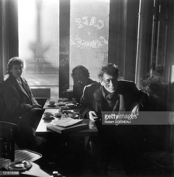 Alberto Giacometti Swiss Sculptor In A Cafe Of The 14Th District In Paris 1958