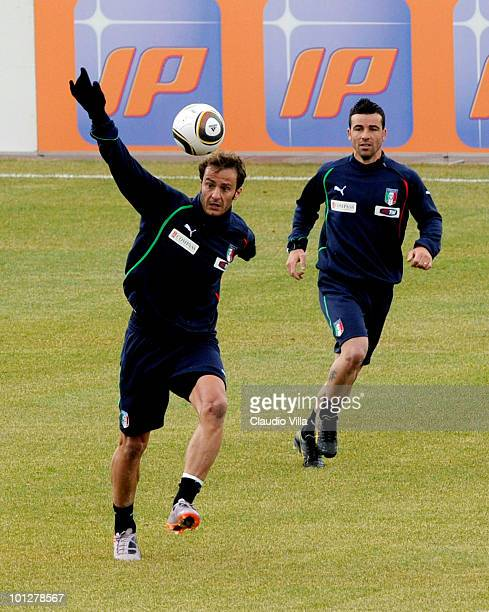 Alberto Gilardino and Antonio Di Natale of Italy in action during the friendly match between Italy and Russi on May 30 2010 in Sestriere near Turin...