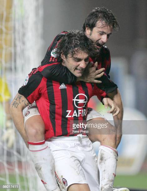 Alberto Gilardino and Christian Vieri of AC Milan celebrate a goal during the Serie A match between Empoli and AC Milan on October 26 2005 at the...