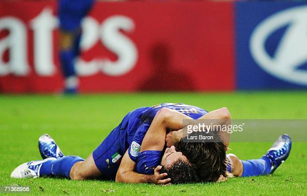 Alberto Gilardino and team mate Andrea Pirlo of Italy celebrate Alessandro Del Piero's goal in extra time during the FIFA World Cup Germany 2006...