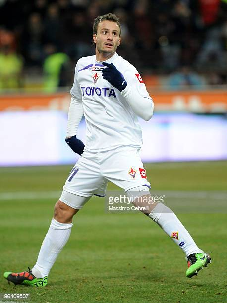 Alberto Gilardino of ACF Fiorentina in action during the first leg semifinal Tim Cup between FC Internazionale Milano and ACF Fiorentina at Stadio...