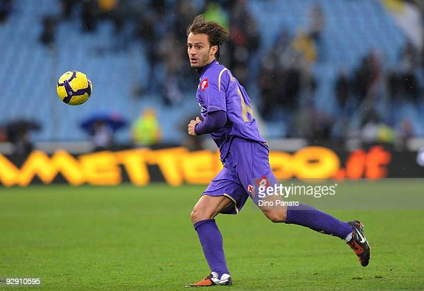 Alberto Gilardino of ACF Fiorentina in action during the Serie A match between Udinese Calcio and ACF Fiorentina at Stadio Friuli on November 8 2009...