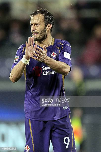 Alberto Gilardino of ACF Fiorentina reacts during the Serie A match between ACF Fiorentina and AC Milan at Stadio Artemio Franchi on March 16 2015 in...