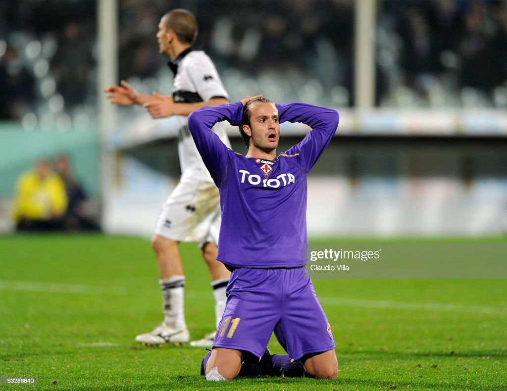 Alberto Gilardino of ACF Fiorentina reacts during the Serie A match between Fiorentina and Parma at Stadio Artemio Franchi on November 21, 2009 in Florence, Italy.